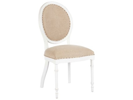 Aidan Gray Grace Textured Linen / Waxed White Dining Side Chair (Sold in 2) AIDCH459WWTL