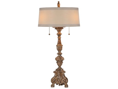 Aidan Gray The Grayson Gilded Chipped Gold Two-Light Buffet Lamp (Sold in 2) AIDL101