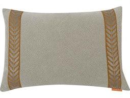 Ivy No-43 White / Orange 20'' x 14'' Rectangular Pillow