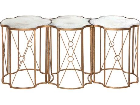Aidan Gray Marlene Tri Antique Mirror / Gold Leaf 47''W x 17''D Coffee Table AIDF237SET