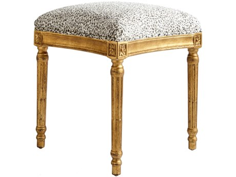 Aidan Gray Petite Leopard / Vintage Gold Square Stool