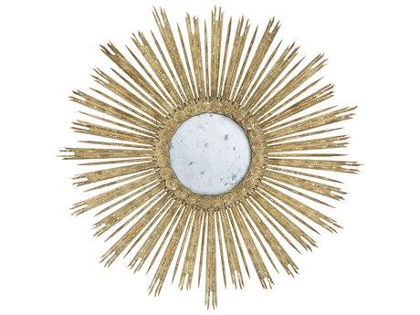 Aidan Gray Skovde Aged Gray / Gold Leaf 51'' Wide Sunburst Wall Mirror AIDDM205