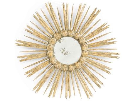 Aidan Gray Skovde Bright Gold Leaf 32'' Wide Round Sunburst Wall Mirror AIDDM216