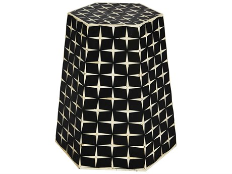 Aidan Gray Star Weave Tapered Black / Cream 16'' Wide Hexagonal Drum Table / Stool AIDF374