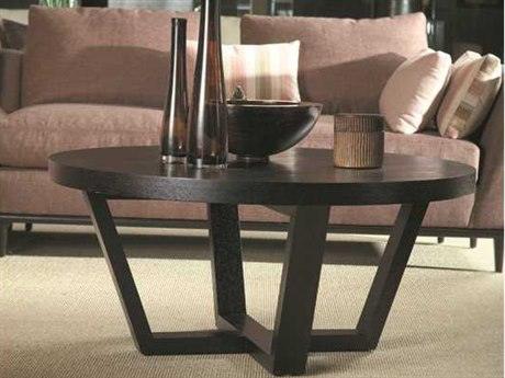 Allan Copley Designs Andy 42 Round Black on Oak Coffee Table AN330801