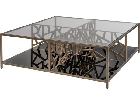 Allan Copley Designs Cracked Ice Gilt Medium Bronze / Transparent Black Glass Shelve 42'' Wide Square Coffee Table AN21401015GMB