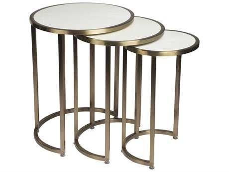 Allan Copley Designs Greta 20'' Wide Round Gray Cherry with Champagne Stainless Steel Nesting Table AN20904023CW