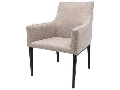 Allan Copley Designs Lauren Matte Black/ Linen Upholstery Arm Dining Chair AN61203LN