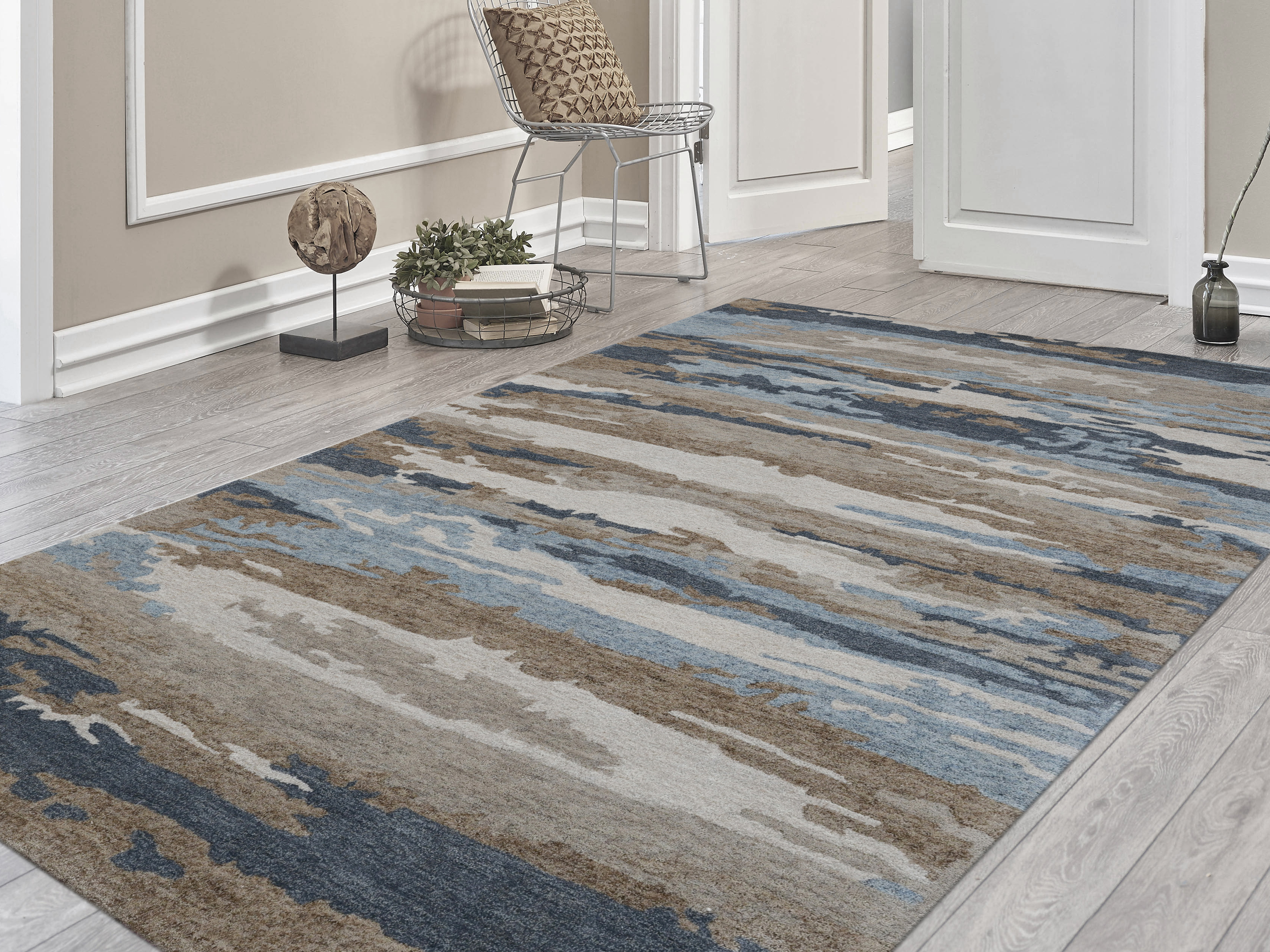Amer Rugs Abstract Water Blue Rectangular Area Rug Arabs5