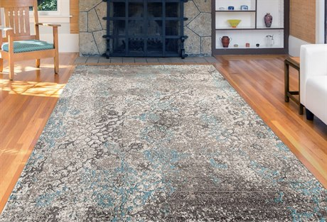 Amer Rugs Cambridge Aqua / Gray Ivory Rectangular Runner Area Rug ARCAM56REC