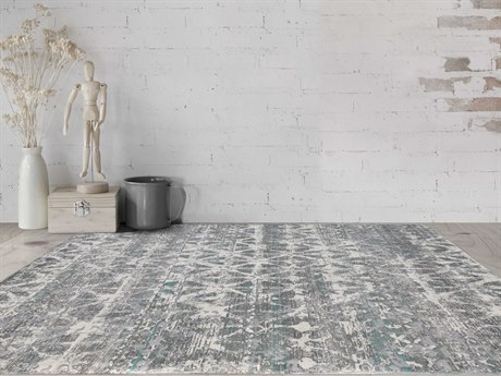 Amer Rugs Cambridge Aqua / Gray Ivory Rectangular Runner Area Rug ARCAM60REC