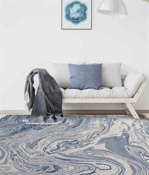 Amer Rugs Carrara Light Blue / Ivory Rectangular Area Rug ARCRR5REC