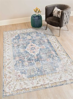 Amer Rugs Century Blue / Ivory Orange Rectangular Area Rug ARCEN18