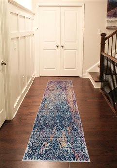 Amer Rugs Manhattan Blue-Yellow / Pink-Ivory Purple-Orange Runner Area Rug