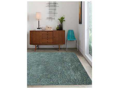 Amer Rugs Peacock Aqua Rectangular Area Rug