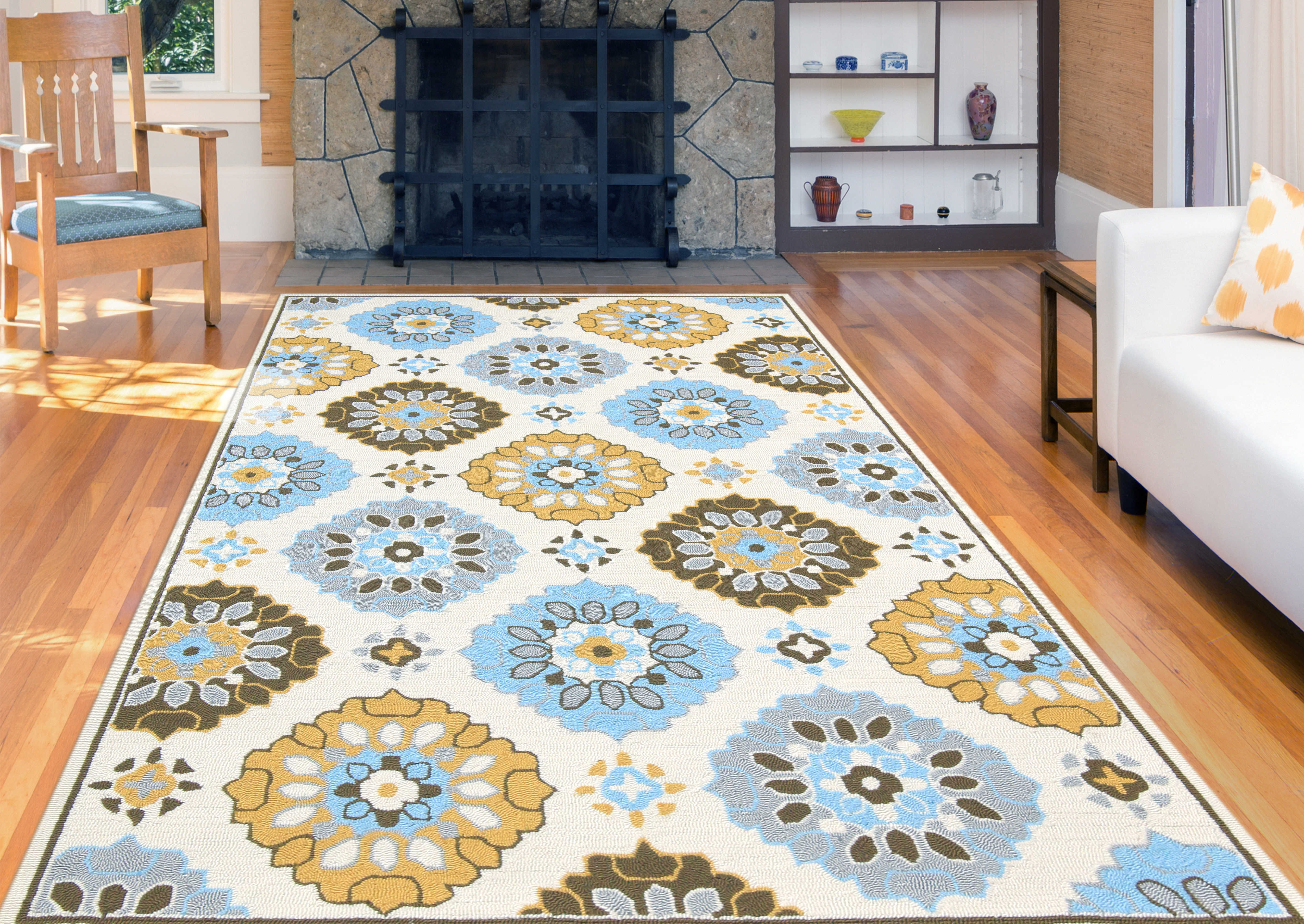 Amer Rugs Piazza Yellow Blue Brown Gray Ivory Tan Rectangular Area Rug