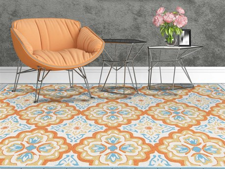 Amer Rugs Piazza Orange / Blue Ivory Rectangular Area Rug ARPAZ72REC