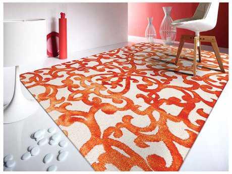 Amer Rugs Shibori White & Orange Rectangular Area Rug ARSHI7WO
