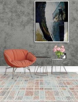 Amer Rugs Vector Aqua / Orange Gray-Cream Rectangular Area Rug ARVEC39REC