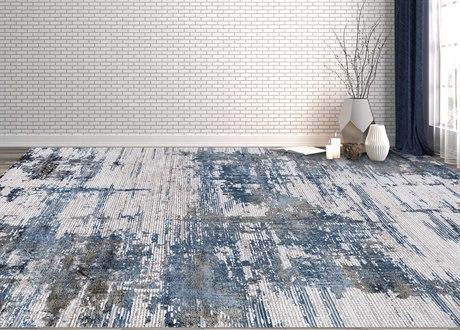 Amer Rugs Venice Blue-Bronze / Cream-Gray Black Rectangular Runner Area Rug ARVEN3REC