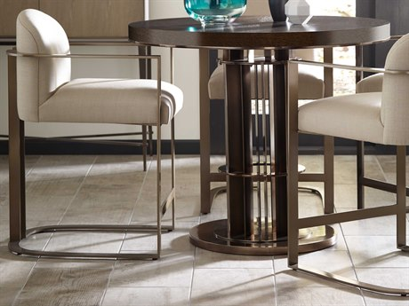American Drew Modern Classics Dark Oak Is Espresso Stain / Gray & Birds Eye Maple Platinum Finish And Metal Bronze Nickel Arm Counter Height Stool