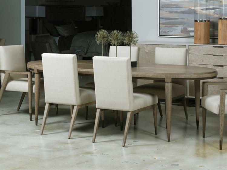 American Drew Modern Clics Flakey White Oak 82 Wide Oval Dining Table
