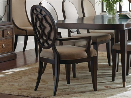 American Drew Grantham Hall Deep Coffee Tone Dining Arm Chair with Decorative Back (Sold in 2) AD512637