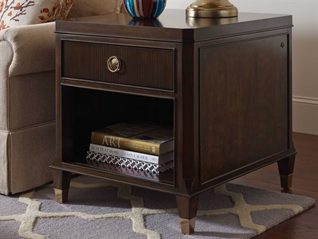American Drew Grantham Hall Deep Coffee Tone 24''L x 28''W Drawer End Table AD512915