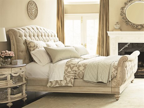 American Drew Jessica McClintock Boutique White Veil with Linen Fabric Queen Size Sleigh Bed AD217304WR