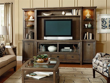 American Drew Park Studio Weathered Taupe with Gray Wash Entertainment Center AD488585SET