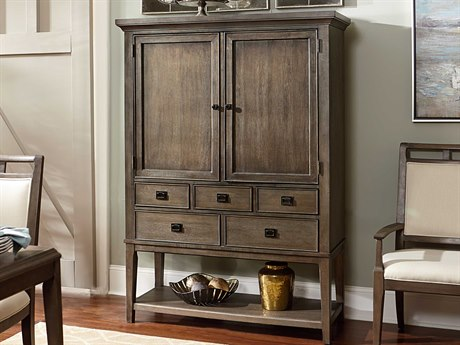 American Drew Park Studio Weathered Taupe with Gray Wash Entertainment Bar Cabinet AD488891