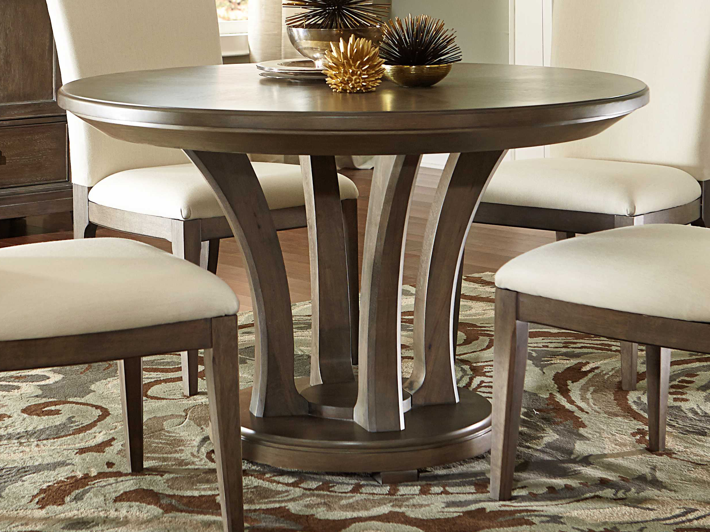 American Drew Park Studio Weathered Taupe with Gray Wash 48\'\' Wide Round  Dining Table