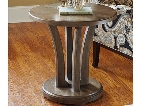 American Drew Park Studio Weathered Taupe with Gray Wash 26'' Wide Round End Table AD488918