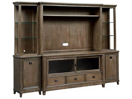 American Drew Park Studio Weathered Taupe with Gray Wash Entertainment Center Hutch AD488586
