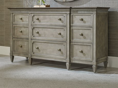 American Drew Savona Stockholm  Mocha Elm Nine-Drawer Drawer Triple Dresser