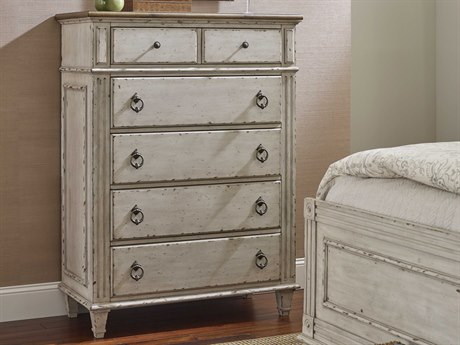 American Drew Southbury White Parchment with Warm Fossil on Top 40''L x 19''W Chest of Drawers