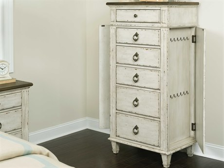 American Drew Southbury White Parchment with Warm Fossil on Top 28''L x 19''W Rectangular Chest of Drawers