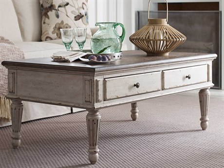American Drew Southbury Fossil Top / Parchment Base 50'' x 28'' Rectangular Cocktail Table AD513910