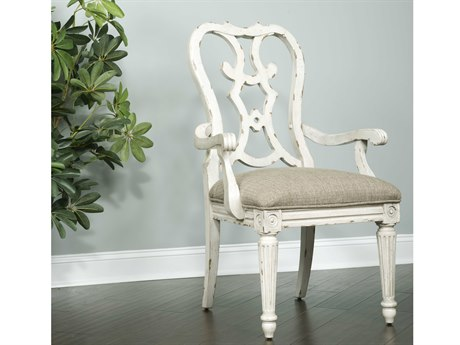 American Drew Southbury White Parchment Cortona Dining Arm Chair (Sold in 2) AD513637
