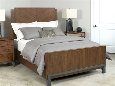 American Drew Modern Synergy Chevron Walnut King Panel Bed AD700315R