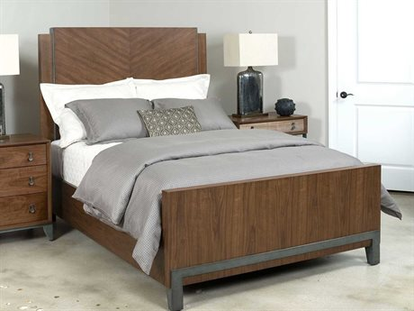 American Drew Modern Synergy Chevron Walnut California King Panel Bed AD700318R