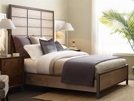 American Drew Modern Synergy Matrix Ambrosia Maple King Panel Bed AD700326R
