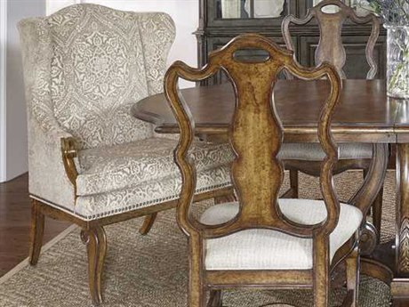A.R.T. Furniture Continental Weathered Nutmeg Wing Back Dining Arm Chair