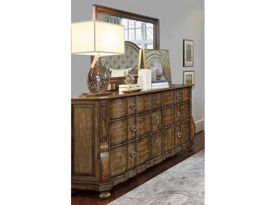 A R T Furniture Continental Weathered Nutmeg Triple Drawer Dresser With Landscape Mirror At2371312624set