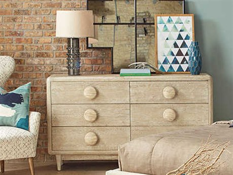 A.R.T. Furniture Epicenters Austin University Hills White-Washed Six Drawers Double Dresser