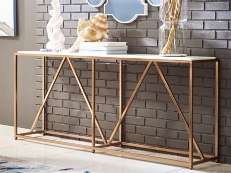 A.R.T. Furniture Epicenters Polished White Fossil Stone / Brass 72'' Wide Rectangular Console Table