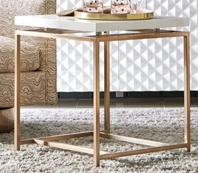 A.R.T. Furniture Epicenters Gloss White / Brass 22'' Wide Square End Table AT3313632617