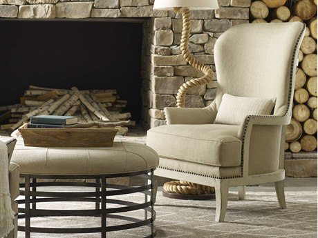 A.R.T. Furniture Logan Aged Canvas Exposed Woodback Canvas Accent Chair AT5125345010AA