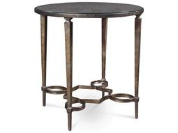 Marni Antique textured metal 24'' Wide Round End Table