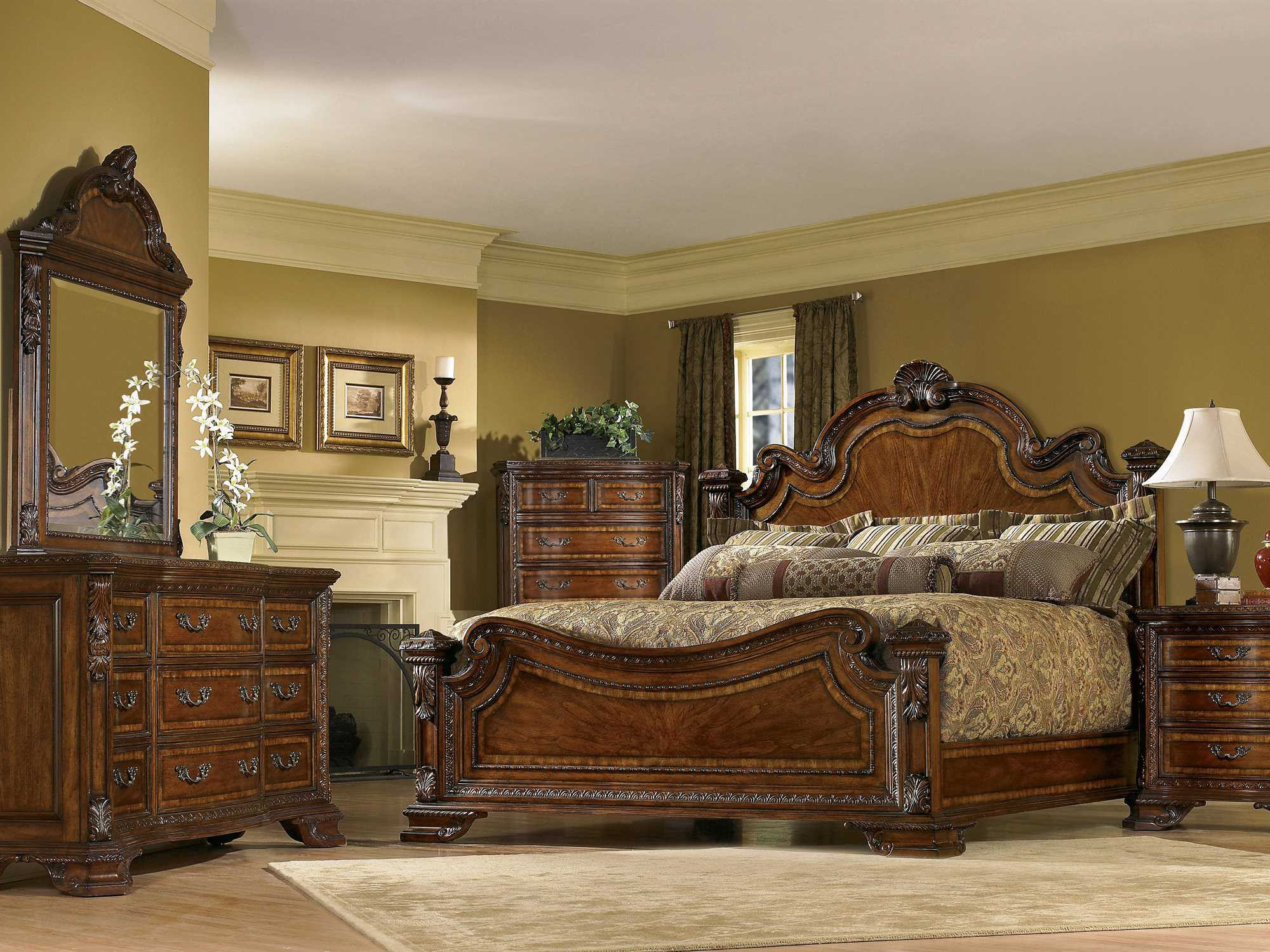 A R T Furniture Old World Estate Queen Panel Bed